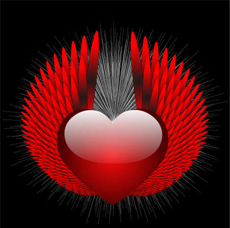 king and queen of hearts: abstract heraldic sign with heart