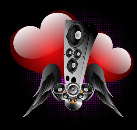 Abstract background with winged acoustic system and hearts. A  background for valentines day Vector