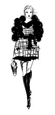 supermodel: Hand-drawn fashion model. illustration.
