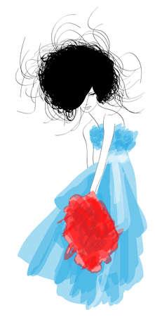 moda casual: Hand-drawn fashion model. ilustraci�n. Vectores