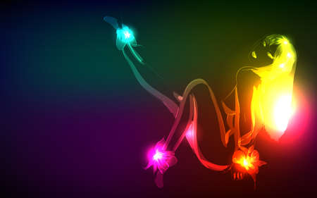Hand-drawn nude model from a neon. Vector illustration. A light girl's Vector