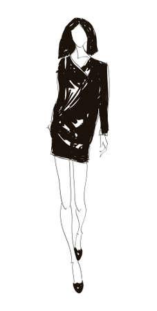Hand-drawn fashion model. Vector illustration. Vector