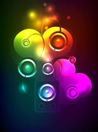 Abstract background with Loudspeakers and hearts. A neon illustration. Vector