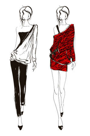 fashion illustration: Hand-drawn fashion model. illustration.