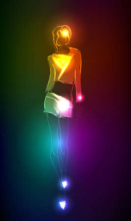 sexy woman disco: Hand-drawn fashion model from a neon. illustration. A light girls