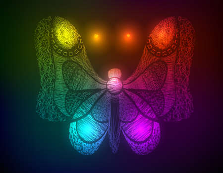 The neon butterfly. The butterfly in light Vector