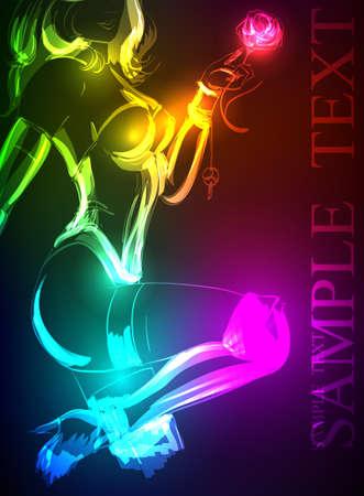 neon party: Disegnati a mano modello di moda da un neon. illustrazione. Una ragazza della luce