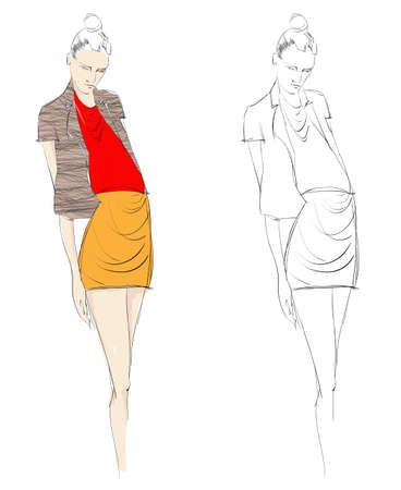 Hand-drawn fashion model. illustration.