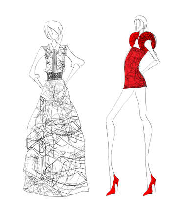 highfashion: Hand-drawn fashion model. illustration.