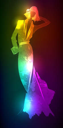 Hand-drawn fashion model from a neon. illustration. A light girl's