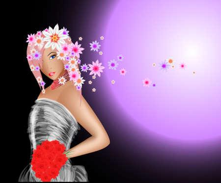 fashion model. spring girl Vector