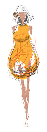 Hand-drawn fashion model. illustration. Vector