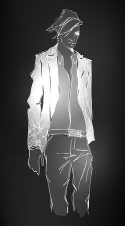 Sketch of fashion handsome man Vector