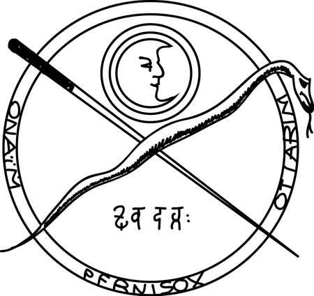 witchcraft: Occult ancient magic symbol. element.