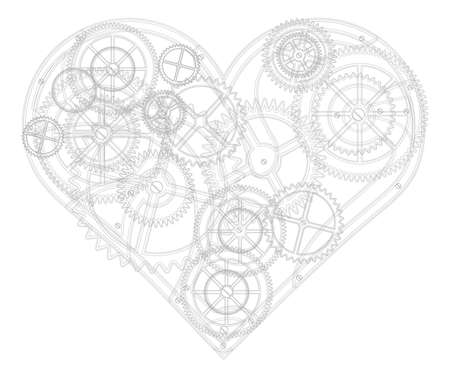Abstract background for valentine's day. Mechanical heart. The drawing.