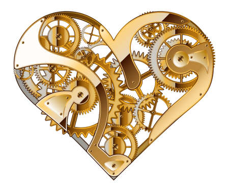 Abstract background for valentines day. Mechanical heart. The drawing.
