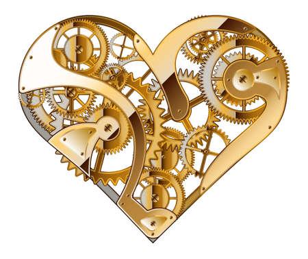 maschinenteile: Abstrakter Hintergrund f�r den Valentinstag. Mechanische Herz. Die Zeichnung. Illustration