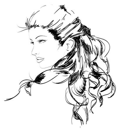 bocetos de personas: Dibujado a mano el modelo de la moda. ilustraci�n. Rostro de mujer Vectores