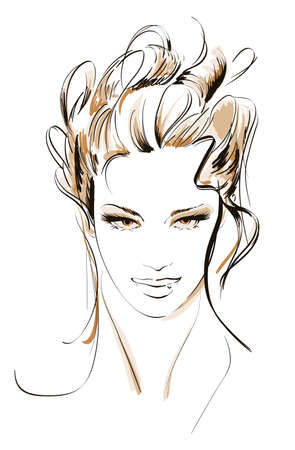 a charming: Hand-drawn fashion model. illustration. Womans face