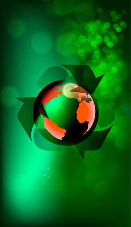 Recycle Symbol with Earth on abstract background. illustration. Vector