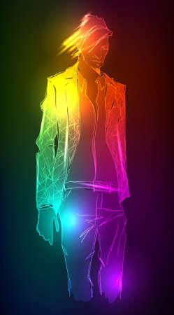 Sketch of fashion neon handsome man