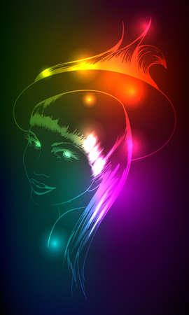 Hand-drawn fashion model from a neon. illustration. A light girls face. Vector