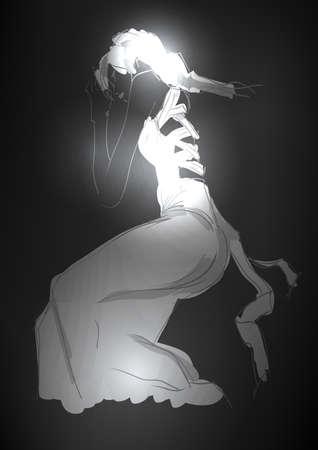 Hand-drawn fashion model. illustration. A light girls Vector