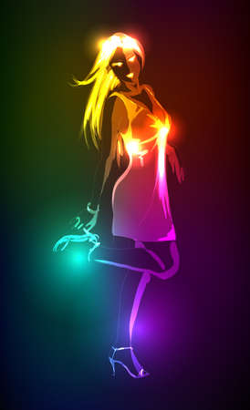 neon: Hand-drawn fashion model from a neon. illustration. A light girls