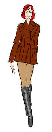 Hand-drawn fashion model. illustration. Stock Vector - 11613417