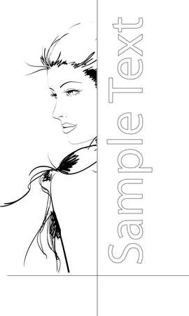 Hand-drawn fashion model. Vector illustration. Womans face Vector
