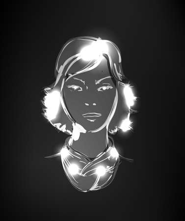Hand-drawn fashion model from a light. black-and-white illustration. A light girls face. Vector