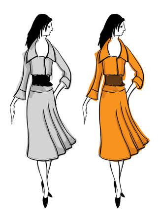 staying: Hand-drawn fashion model. illustration.