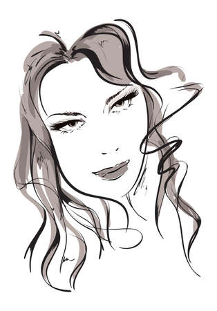 Hand-drawn fashion model. Vector illustration. Womans face