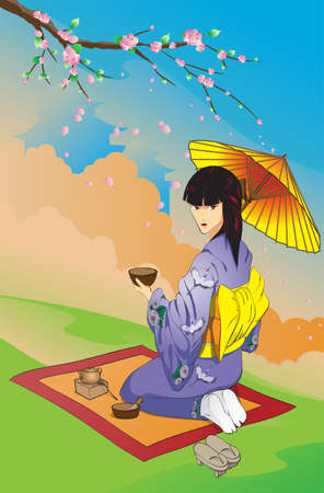 exotic woman: Tea drinking under a blossoming Oriental cherry
