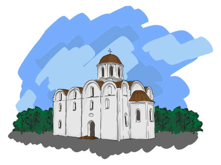 illustration of the architectural design. In the style of drawing. Vector