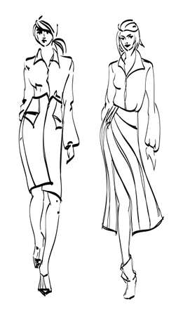 SKETCH. fashion girls Vector