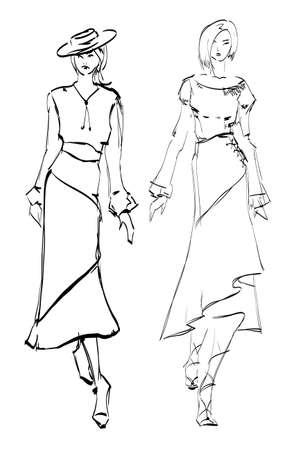 top: SKETCH. fashion girl. Hand-drawn fashion model. illustration.