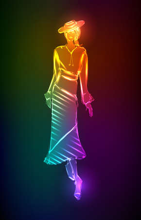 supermodel: Hand-drawn fashion model from a neon. illustration. A light girls
