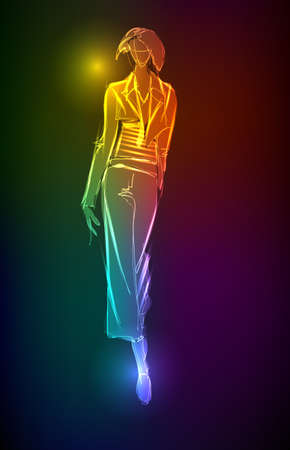 Hand-drawn fashion model from a neon. Vector illustration. A light girl's Stock Vector - 11613707