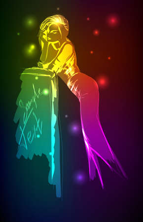 Hand-drawn fashion model from a neon. illustration. A light girl's Stock Vector - 11613731
