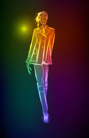 Hand-drawn fashion model from a neon. illustration. A light girl's Stock Vector - 11613634