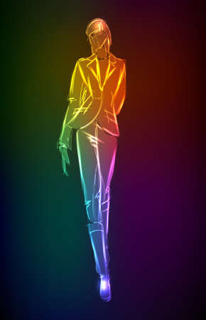 Hand-drawn fashion model from a neon. illustration. A light girl's Stock Vector - 11613603