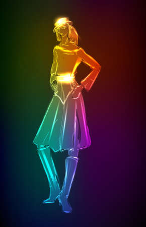 Hand-drawn fashion model from a neon. illustration. A light girl's Stock Vector - 11613668