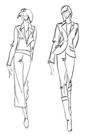 SKETCH. fashion girl. Hand-drawn fashion model. Vector illustration. Vectores
