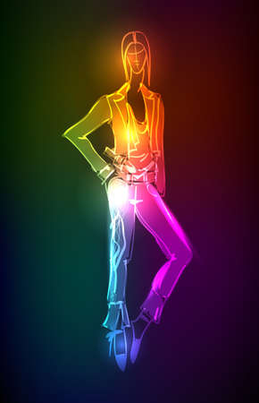 Hand-drawn fashion model from a neon. illustration. A light girl's Stock Vector - 11613734
