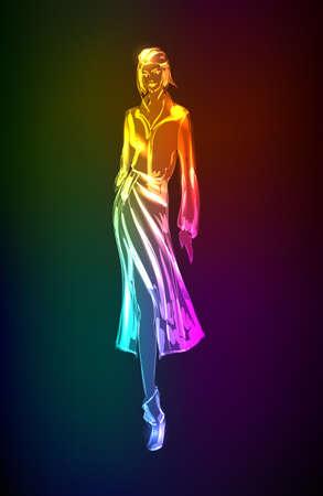 highfashion: Hand-drawn fashion model from a neon. illustration. A light girls