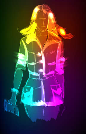 Hand-drawn fashion model from a neon. illustration. A light girl's Vector