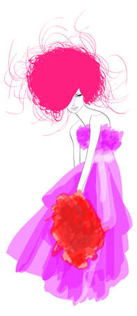 DIBUJO. chica de moda. Dibujado a mano el modelo de la moda. ilustración.