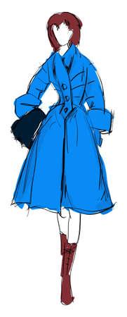 SKETCH. fashion girl. Hand-drawn fashion model. Vector illustration. Stock Vector - 11612982