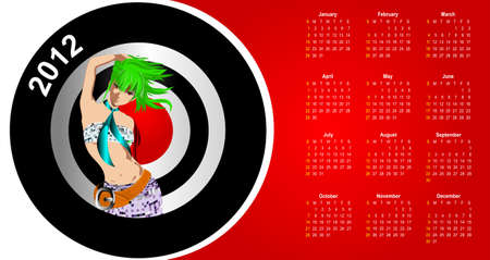 Calendar 2012 in style of a fashion. The girl. Vector